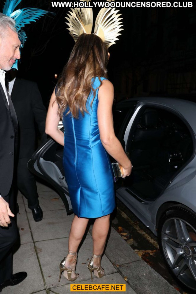 Elizabeth Hurley Blue Dress  Cleavage Beautiful Babe Celebrity Posing