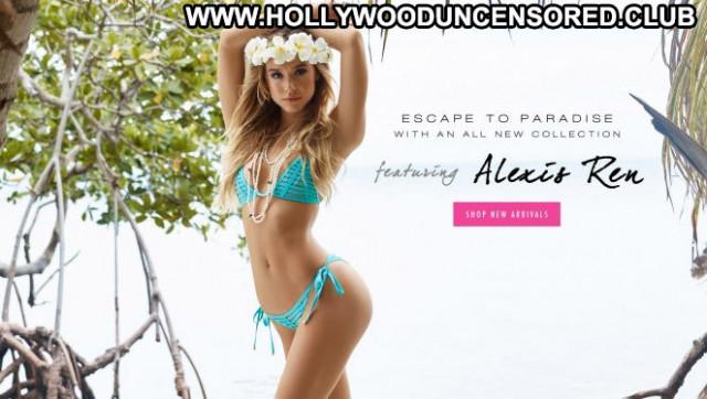 Alexis Ren Beach Bunny Swimwear Celebrity Paparazzi Beach Posing Hot