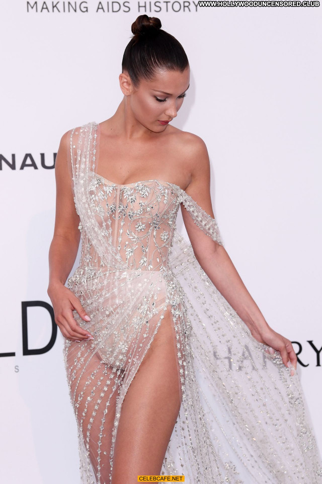 Bella Hadid Cannes Film Festival See Through Celebrity Posing Hot