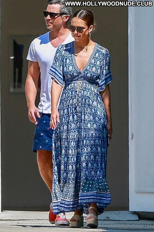Jessica Alba Blue Dress Babe Posing Hot Beautiful Celebrity Shopping